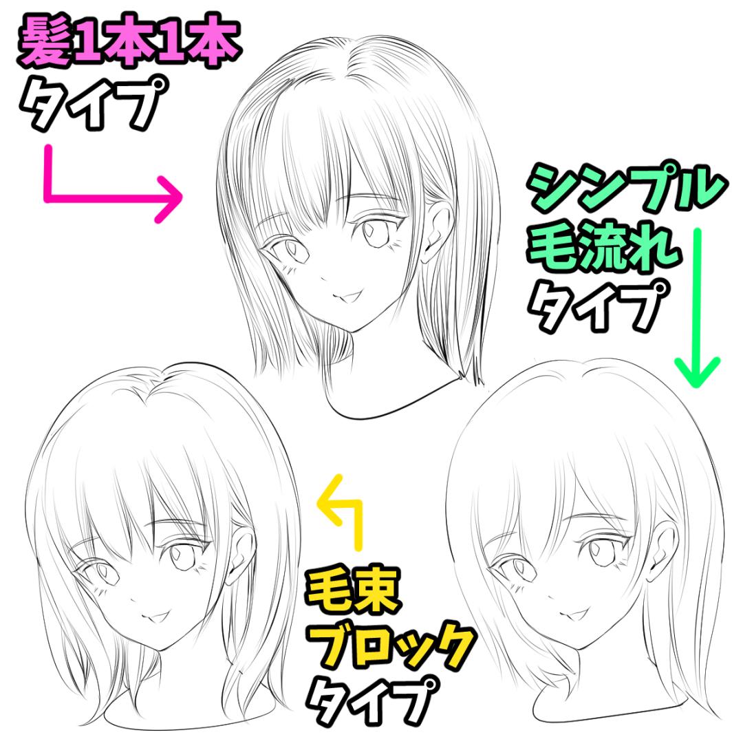 髪の描き方 女の子イラストの模写